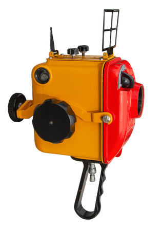 Old underwater box for 8 mm film movie camera isolated on white. Clipping path included.