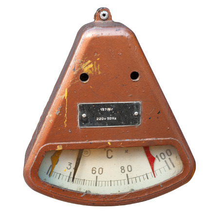 termometer: Old industrial termometer isolated on white.