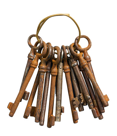 lock and chain: Bunch of old keys isolated on white