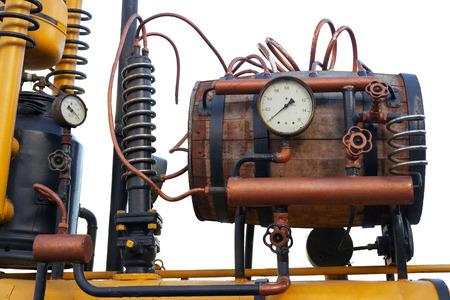 moonshine: Steampunk distiller isolated on white Stock Photo