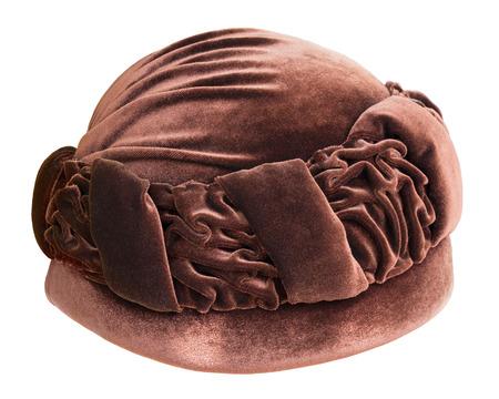 velours: Old fashion female hat isolated on white