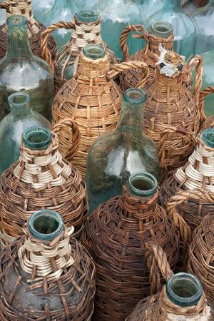 A lot of old wine bottles