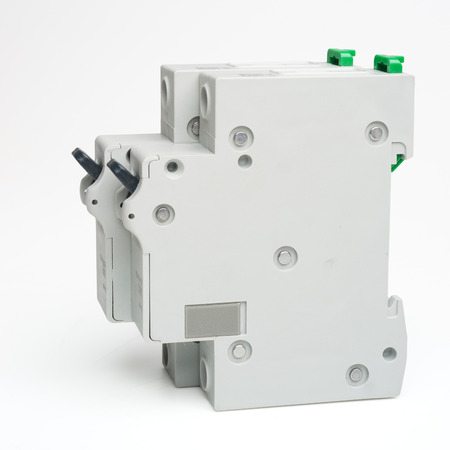 Electrical breakers (switches) isolated on white. Clipping path included. Stock Photo