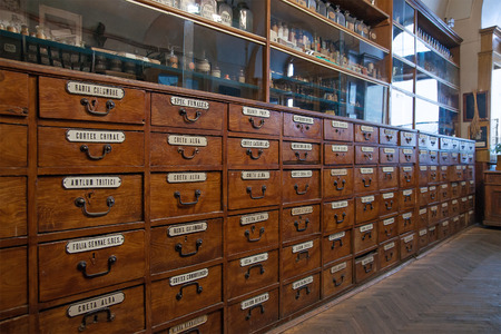 Interior of the old pharmacy Stock Photo