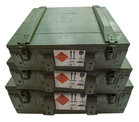Military boxes with explosive isolated on white. Stock Photo