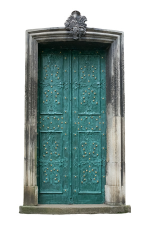 Ancient door isolated on white. Clipping path included. Stock Photo