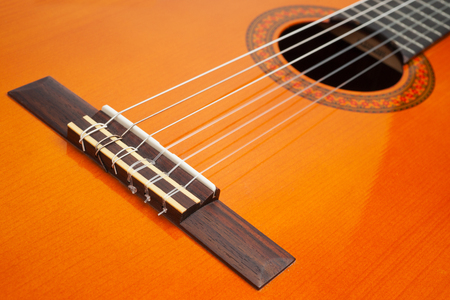 Part of classic guitar as background Stock Photo