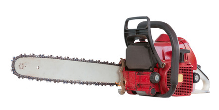 Chainsaw isolated on white Stock Photo