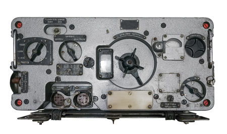 Old soviet military radio reciever isolated on white. Clipping path included.