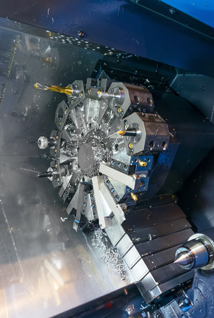 Industrial lathe machine fragment