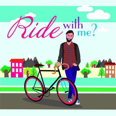 bearded man: Bearded man standing next to a bicycle on a background of nature