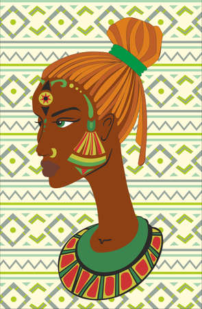 african american woman: Hand drawn portrait of African American woman against African ornaments Stock Photo