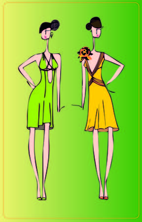 special occasions: Two models of dresses for special occasions , painted by hand. Can be used for sewing workshops and ateliers . Illustration