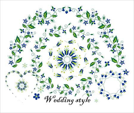 paraphernalia: Floral ornament for wedding decoration. It can be used to design invitations, greeting cards , seedling cards and other wedding paraphernalia.
