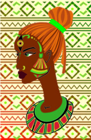 black woman face: Hand drawn portrait of African-American woman in pigtails against the background of ethnic ornametov .
