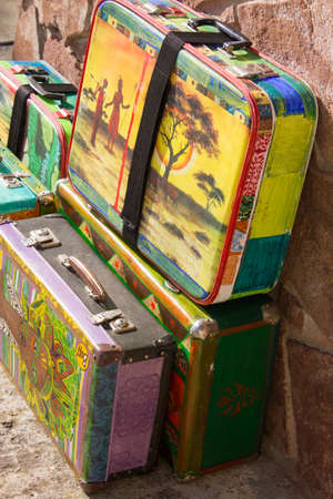 old suitcase: bright colored retro suitcases for travel bag Stock Photo