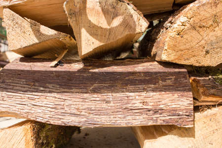 kindling: Wooden logs brown for kindling fire sun Stock Photo