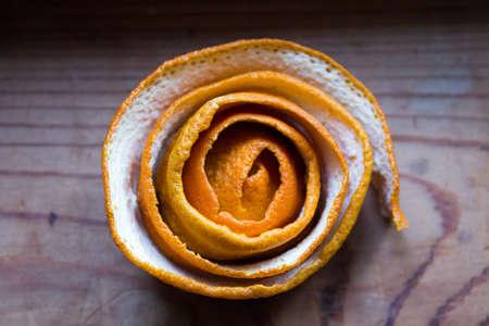 orange peel: Orange peel in the form of curls or flower