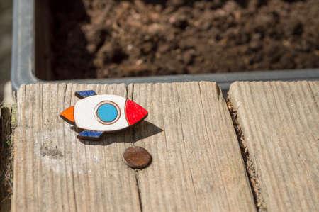 genteel: beautiful brooch rocket handmade jewelry in wood