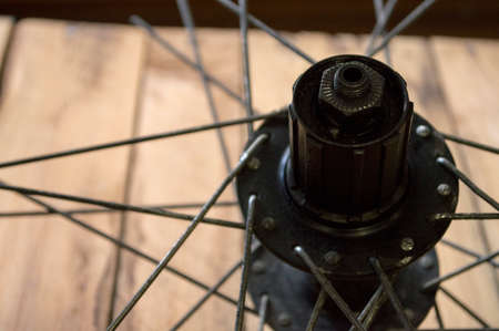 bicycle wheel with spokes in the repair shop Stock Photo