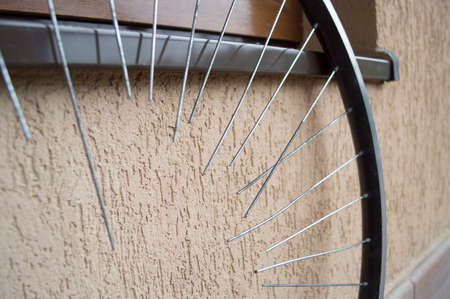 spokes: bicycle wheel with spokes in the repair shop Stock Photo