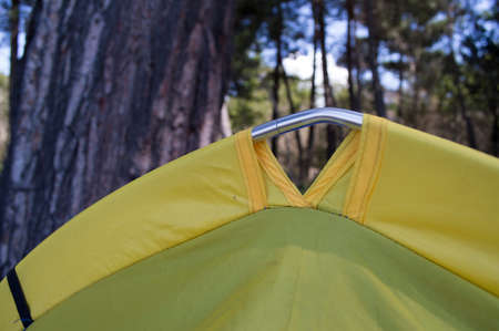 surface tension: Close up of camping tent with morning dew