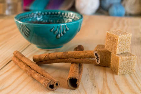 flour sugar and cinnamon on a wooden background Stock Photo