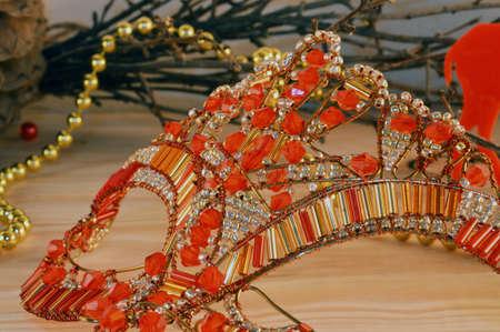 beautiful Venetian mask carnival closeup woven wire and beads