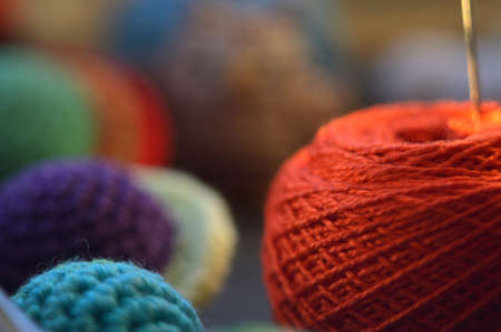 Knitting needles and yarn with love Stock Photo