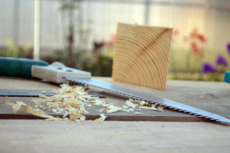saw and wooden shavings on the boards lite