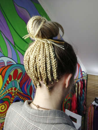 african braids with kanekalon at close up Standard-Bild