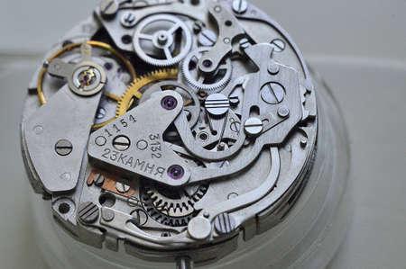 watch mechanism in a repair workshop
