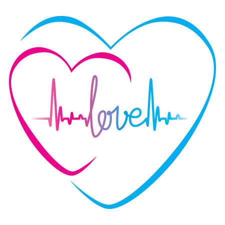Heartbeat with love text and heart symbol  Vector illustration background
