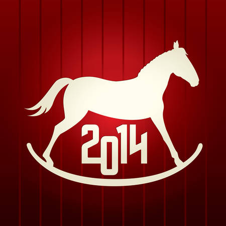 New Year vector red background  Horse  Symbol of 2014 Vector