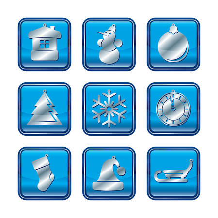 New Year Christmas blue icon set vector illustration Vector