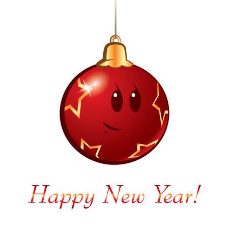 pelota caricatura: Ilustraci�n de la bola de dibujos animados de a�o nuevo Navidad Vector Vectores