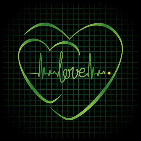 Heartbeat with love text and heart symbol  Vector illustration background Vector