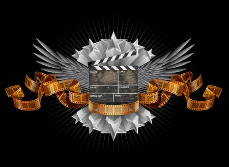 movie clapper: Coat of arms with movie clapper, EPS 10 contains transparency Illustration