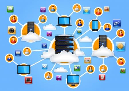 Illustratie van netwerk, EPS 10, bevat transparantie Stock Illustratie