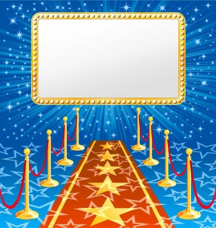 Illustrazione del tappeto rosso con banner, EPS 8