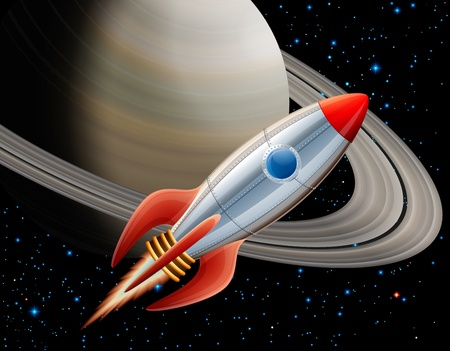 cartoon fire: Rocket in space, EPS 10, contains transparency Illustration