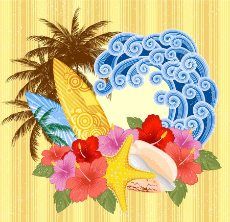 Surfing emblem with surfboards, palms and flowers, on the retro background  EPS 8 Vector