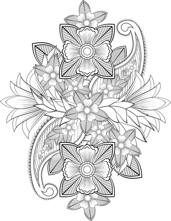 Black and white Indian flowers with paisleys picture for body-art and decoration