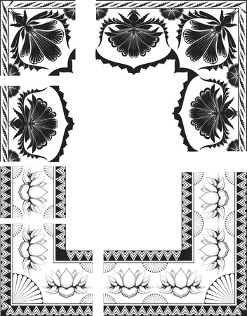 Frames with black   white Indian flowers ,frames are divided on elements