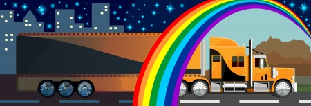 long distance: Lorry drives from day to night Illustration
