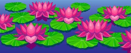 Lotuses on lake with leafs, picture has three layers to easy editing, EPS10 Stock Vector - 20109315