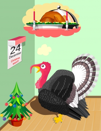 killed: Turkey thinks, that it will be killed on Christmas for dish Illustration