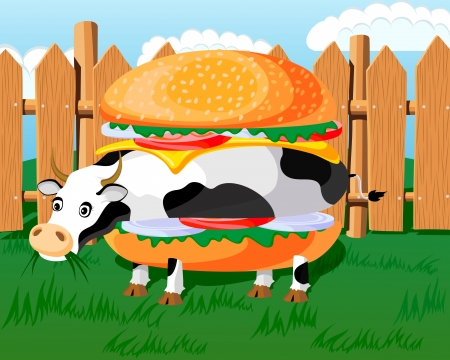 parody: Conceptual illustration of hamburger, cow hamburger, fast-food parody  Picture has layers to easy edit