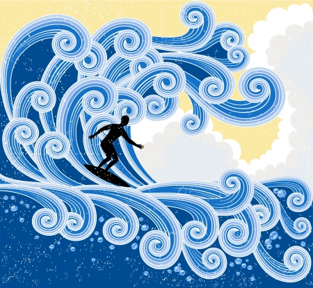 Surfer slides on a big stylized wave, no gradients only solid filling used, retro-styled illustration