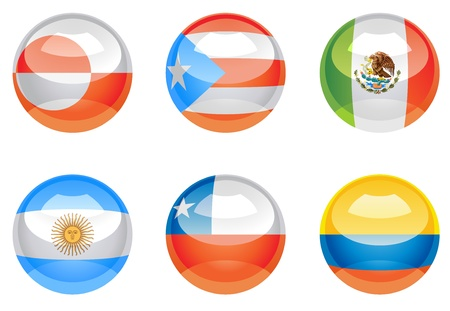 colombia flag: Extra glossy, nation flag icons